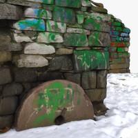 ruins graffiti 3d obj