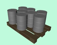 c4d wooden pallet barrel