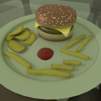 burger chips fries 3d model