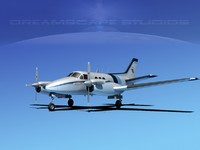 beechcraft king air 3d model