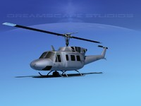 3d uh1-n bell uh-1n helicopter