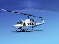 3d model uh1-n bell uh-1n helicopter