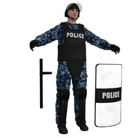 3d riot police officer 2 model