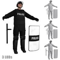 riot police officer s 3d model