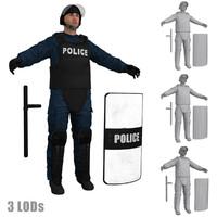 3d model riot police officer s