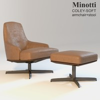 minotti coley-soft armchair stool obj