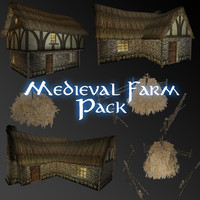 3d medieval farm building houses model