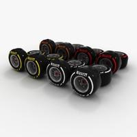 3d formula 1 wheels pirelli model