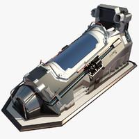 maya futuristic cryopod