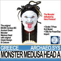 3d ancient greek monster medusa