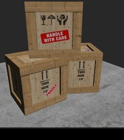 3d wooden parcel box model