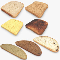bread slice set 3d 3ds