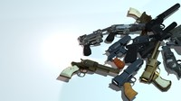 customizable handed guns polys 3d ma