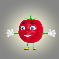 3d cartoon tomato model