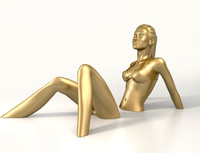 3d sunbath girl model