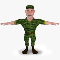 3d cartoon soldier toon