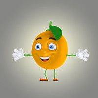 3d model of cartoon orange