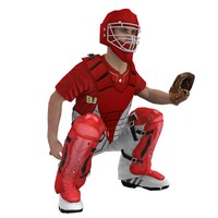 rigged baseball catcher 3d max