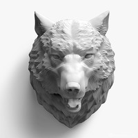 obj wolf head sculpture