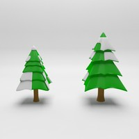 cartoon spruce tree 2 3d obj