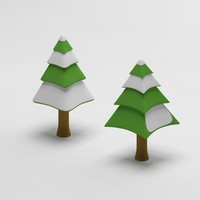 3ds max cartoon snowy spruce tree