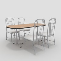 3d model table chairs-9 chairs