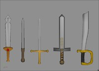 5 cartoon swords 3d model