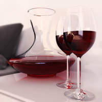 carafe wine glasses 3d model