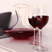 carafe wine glasses 3d model
