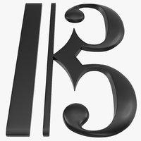 3d model c clef symbol