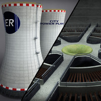 cooling tower power plant 3d 3ds