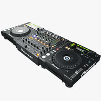 3d model dj set pioneer black