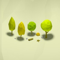 Cartoon low poly trees pack
