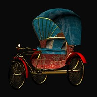 chinese rickshaw 3d model