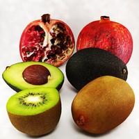 exotic fruits 3d model