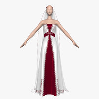 wedding dress 013 female 3d model