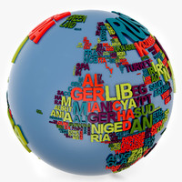 3ds max continent world globe