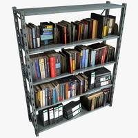 metal shelving unit books 3d model
