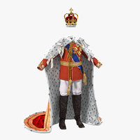 3d royal king costume fur