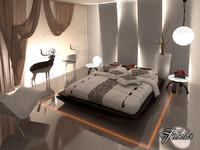 bedroom scene 3d obj