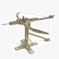 3d model medieval ballista bow