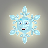 3d model of cool cartoon snowflake