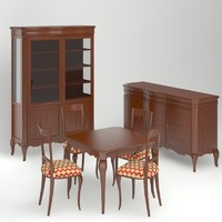 3d model dining room furniture set