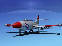 panther f9f jet fighter 3d model