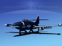 panther f9f jet fighter 3d max