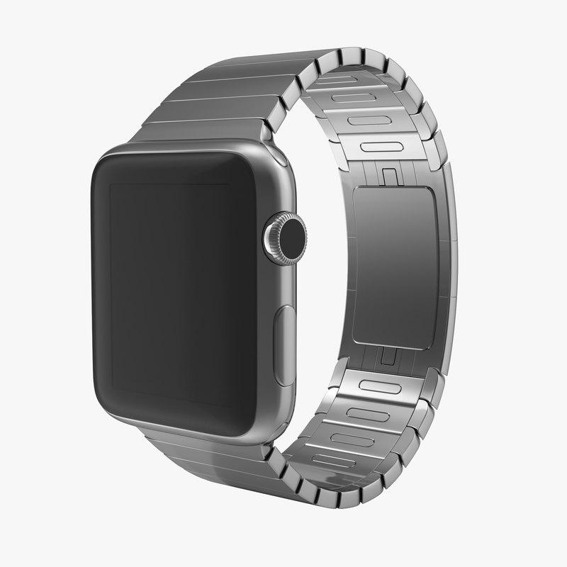 Apple Watch Link Bracelet Dark Space 3d model 00.jpg