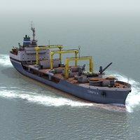 3d bulk cargo ship model