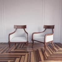 klismos armchair artistic frame 3d model