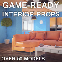 3d furniture props interiors low-poly