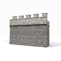 3d model medieval castle wall 1